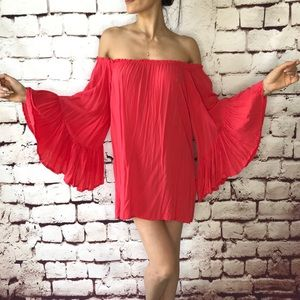 Hot pink cover up off the shoulder dress OS tunic
